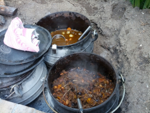 Two kinds of springbok potjie. Yum!