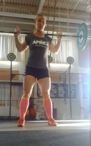 No, this is not heavy. This is practicing narrow grip overhead squats.