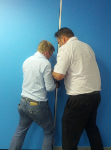 The boys at Liquid assisting me by breaking the door.